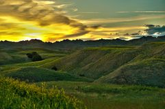 Badlands Sunset Scenery Stock Photo