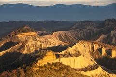 Badlands valley Clay mountains. Lazio, Italy. Royalty Free Stock Image