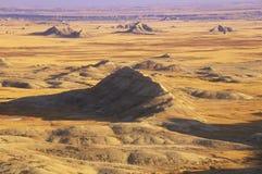 Badlandsnationalpark på solnedgången, South Dakota arkivbilder