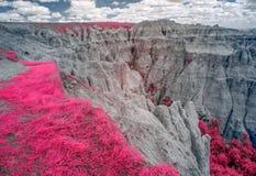 Badlandsnationalpark som är infraröd South Dakota royaltyfri fotografi