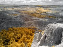 Badlandsnationalpark som ?r infrar?d South Dakota arkivbilder