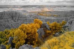 Badlandsnationalpark som ?r infrar?d South Dakota arkivfoton