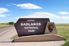 Badlandsnationalparktecken arkivbild