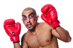 Badly beaten boxer Stock Photo
