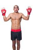 Badly beaten boxer. Isolated on white Stock Photo
