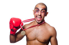 Badly beaten boxer Royalty Free Stock Image