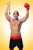 Badly beaten boxer. On white Royalty Free Stock Images
