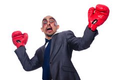 Badly beaten businessman Stock Photo