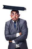 Badly beaten businessman isolated Stock Photo