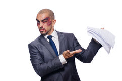 Badly beaten businessman isolated Stock Photos