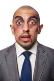 Badly beaten businessman Stock Image