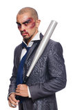 Badly bruised businessman with bat royalty free stock photos