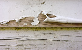 Badly peeling paint on clapboard siding Royalty Free Stock Photo