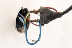 Badly wired plug showing bad and wrong and dangerous connection Stock Images