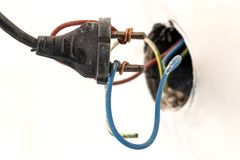 Badly wired plug showing bad and wrong and dangerous connection.  Royalty Free Stock Photography