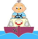 Badmeester, de boot van de Motor en zeemansjongen Stock Afbeelding