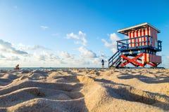 Badmeester Tower in Zuidenstrand, het Strand van Miami, Florida Royalty-vrije Stock Foto's