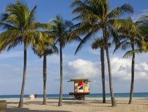 Badmeesterhuis tussen palmen Stock Foto's