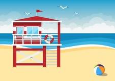 Badmeesterpost op het strand op overzeese achtergrond Stock Fotografie