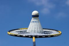 Badminton. Equipment against a sky background stock image