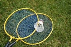 Badminton. Set on green lawn Stock Photo