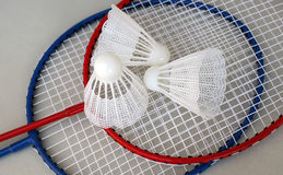 Badminton. Badminton rackets and shuttlecocks with grey background stock image