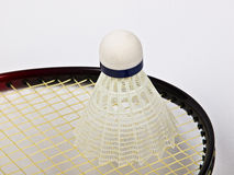 Badminton. Red badminton racquet and shuttlecock Royalty Free Stock Images