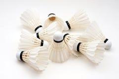Badminton. Ten badminton on white background Royalty Free Stock Images