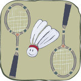 Badminton. Sports equipment. two rackets and big jolly shuttlecock Stock Photography