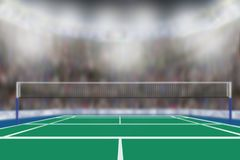 Badminton Arena With Copy Space. Low angle view of badminton arena with sports fans in the stands and copy space. Focus on foreground with deliberate shallow royalty free stock photos
