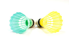 Badminton ball. On a white background royalty free stock photography