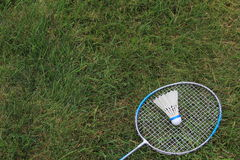 Badminton Birdie Shuttlecock med racket Royaltyfria Foton