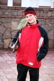 Badminton boy. A white boy child holding a badminton racquet Royalty Free Stock Photo