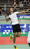 Badminton brazil racket. Luiz Dos Santos of Brazil focuses on a shot at the Yonex Moncton International Challenge badminton event December 15, 2011 in Moncton Royalty Free Stock Image