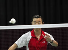 Badminton canada woman serve shuttlecock Stock Photos