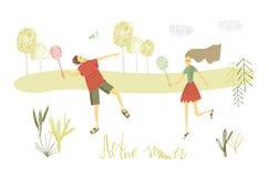 badminton ch?opiec dziewczyny bawi? si? w kontek?cie niebieskie chmury odpowiadaj? trawy zielone niebo bia?e wispy natury ilustracji