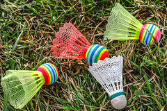 Badminton colored shuttlecocks -2 Stock Photos