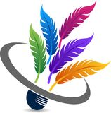Badminton colorful feathered logo Stock Images
