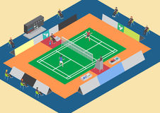 Badminton competition single match Royalty Free Stock Photo