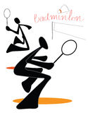 Badminton couple team symbol left. Playing badminton couple team indoor sports symbol  and logo Shadow man cartoon design for card sign sticker or advertisement Royalty Free Stock Photography