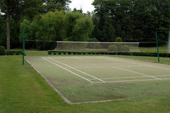 Badminton court. A grass badminton court stock image