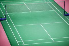 Badminton court green floor standard. In master tournament Royalty Free Stock Images