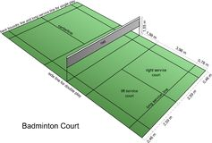 Badminton court. A badminton court with lines and net Stock Photography