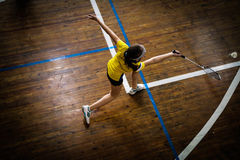 Badminton courts with player competing Stock Photos