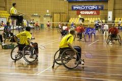 Badminton da cadeira de rodas dos homens Foto de Stock Royalty Free