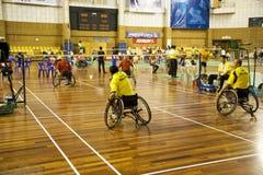 Badminton da cadeira de rodas dos homens Imagem de Stock