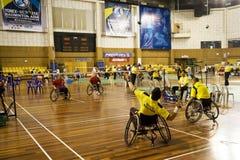 Badminton da cadeira de rodas dos homens Imagens de Stock Royalty Free