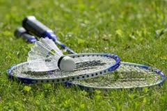 Badminton dat op gras wordt geplaatst royalty-vrije stock fotografie