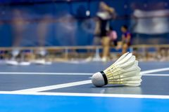 Badminton de coq de navette dans la cour bleue photos stock