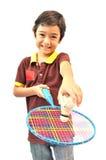 Badminton do jogo do menino do esporte foto de stock royalty free